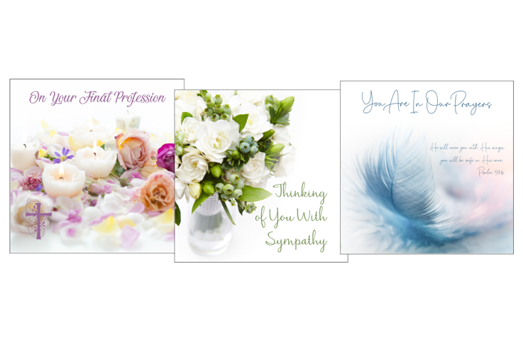 christian sympathy cards floral and feather