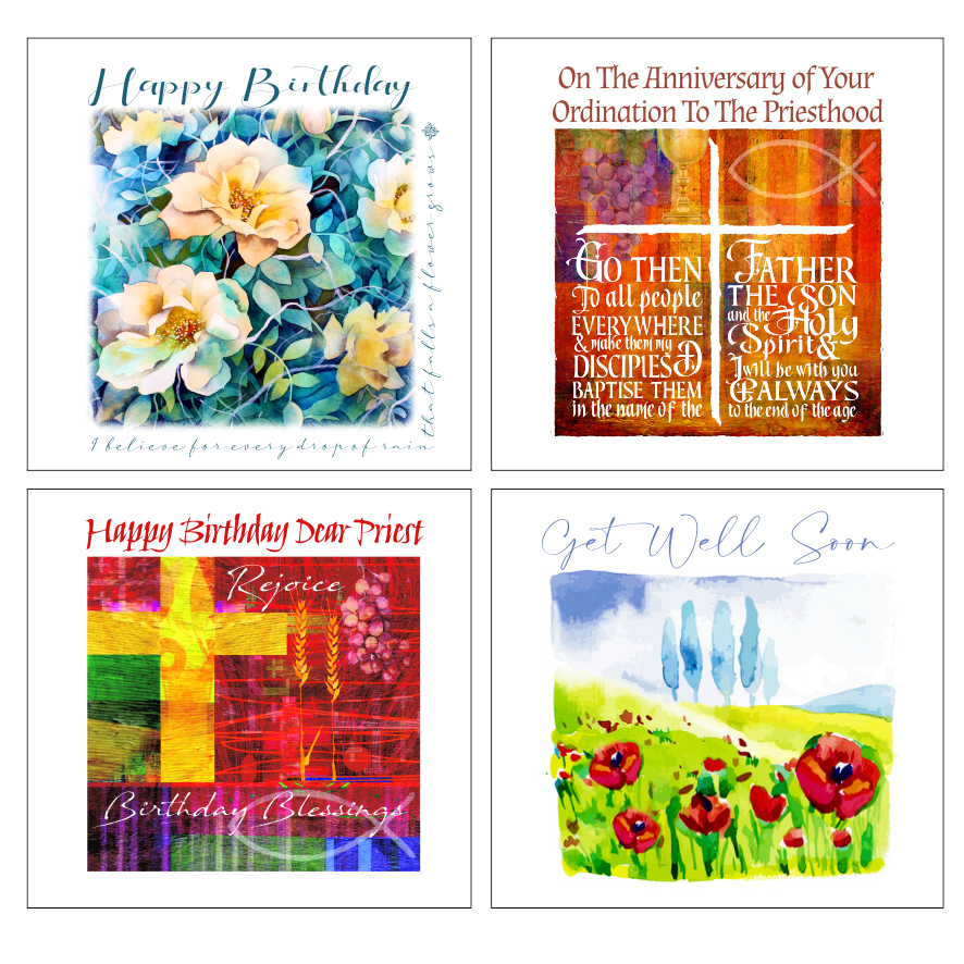 Christian birthday cards floral design