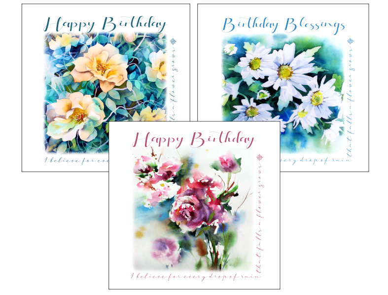 floral christian birthday cards
